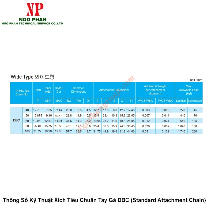 Xich Tieu Chuan Tay Ga DBC Standard Attachment Chain 3